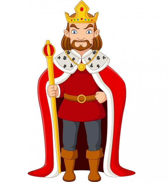 Мультяшный король держит золотой скипетр Premium векторы