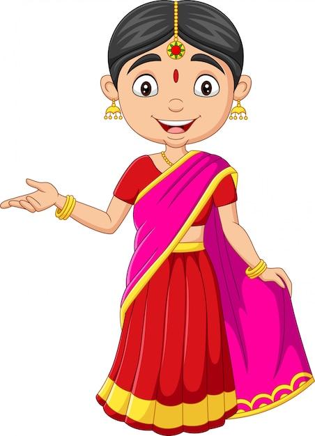 伝統的な服で漫画インドの女性 Premiumベクター