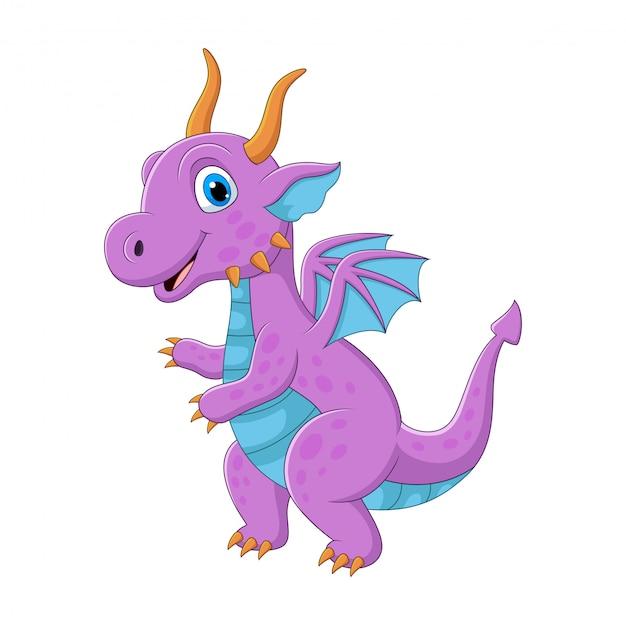 Мультяшный фиолетовый дракон на белом Premium векторы