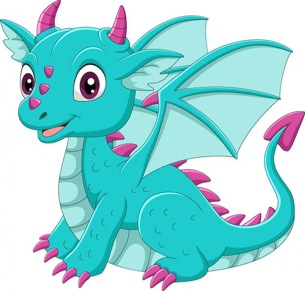 Мультяшный малыш сидит на синем драконе Premium векторы