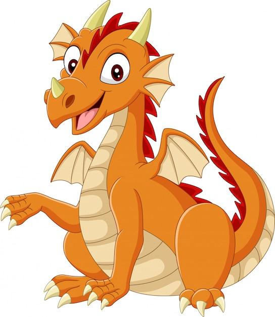 Мультяшный счастливый дракон на белом Premium векторы