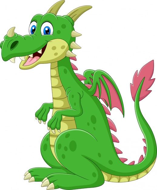 Мультяшный счастливый зеленый дракон сидит Premium векторы