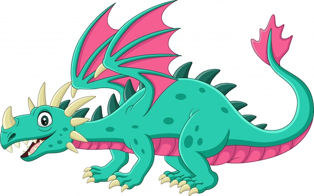Мультяшный зеленый дракон на белом Premium векторы