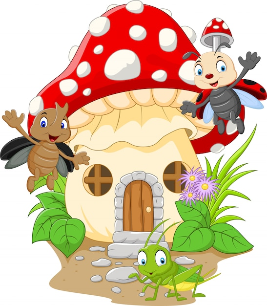 Мультяшные смешные насекомые с грибным домиком Premium векторы