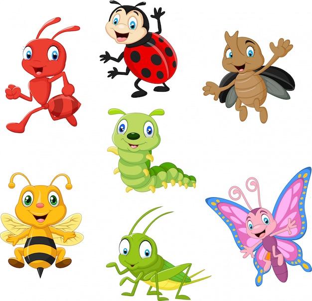 Набор мультяшных смешных насекомых Premium векторы