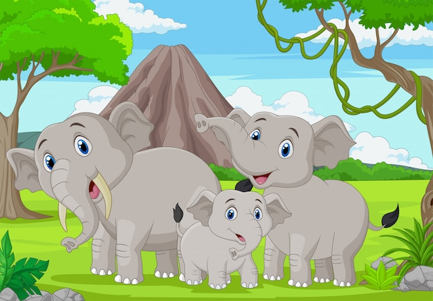Семья мультяшных слонов в джунглях Premium векторы