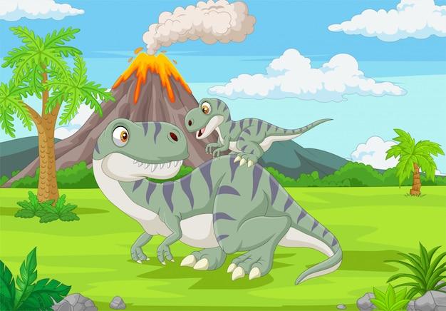 Мультфильм мама и малыш динозавр в джунглях Premium векторы