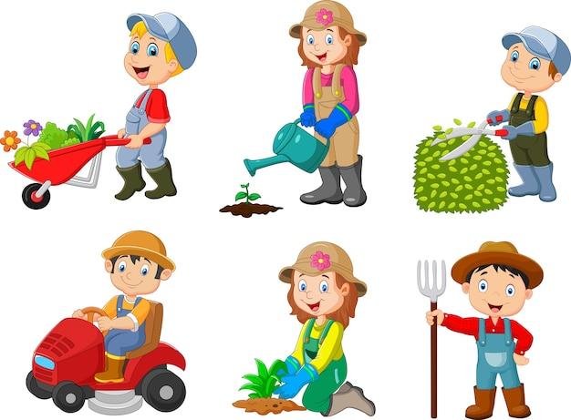 園芸子供のコレクション Premiumベクター