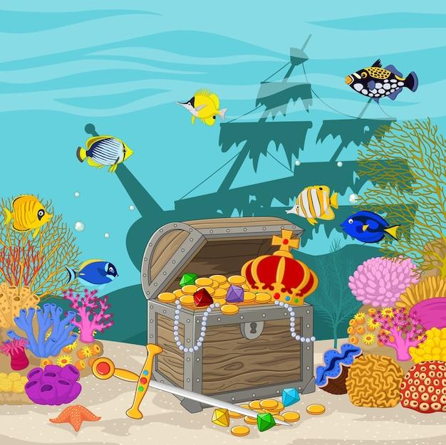 水中の背景にある宝箱 Premiumベクター