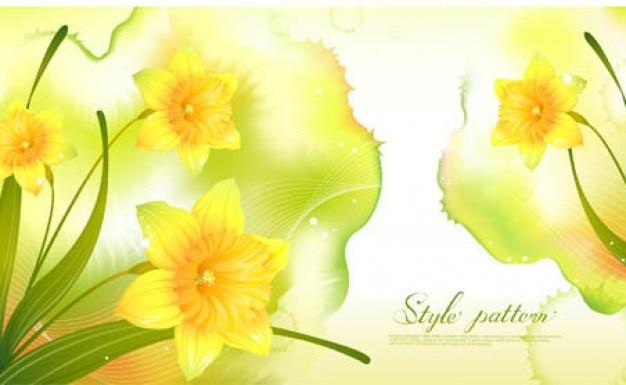 黄色の背景に春の水仙 無料ベクター