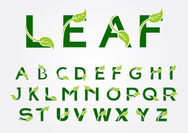 葉の要素を持つアルファベットのロゴ Premiumベクター