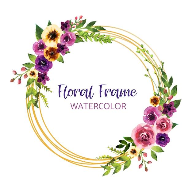 葉と花、カード、フレーム、ボーダーと水彩の招待状のデザイン。ポスター、挨拶水彩アートイラスト Premiumベクター