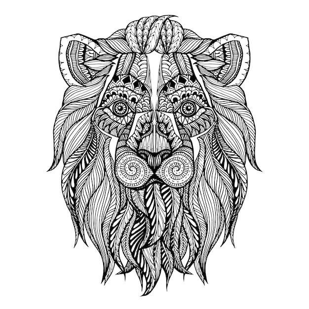 ライオンの背景の手描きの頭 Premiumベクター
