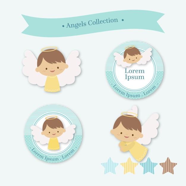 Коллекция ангелов Premium векторы