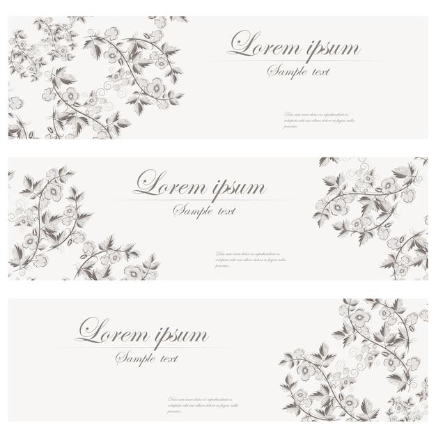 花のバナーベクトルレトロスタイル。 無料ベクター