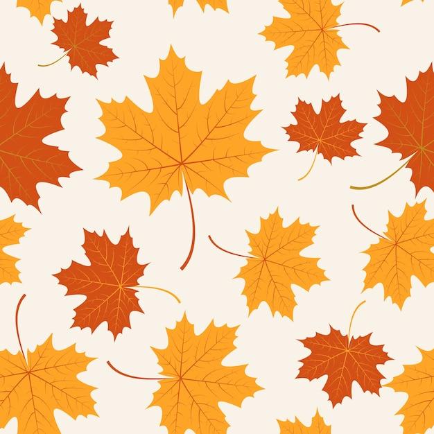 秋の葉とシームレスなベクトル葉 無料ベクター