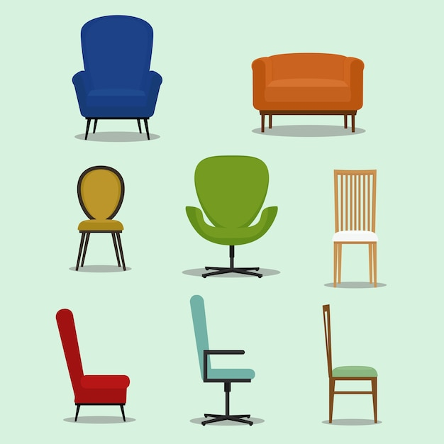 さまざまな形と椅子のスタイルのセット。家具デザインのベクトル図 Premiumベクター