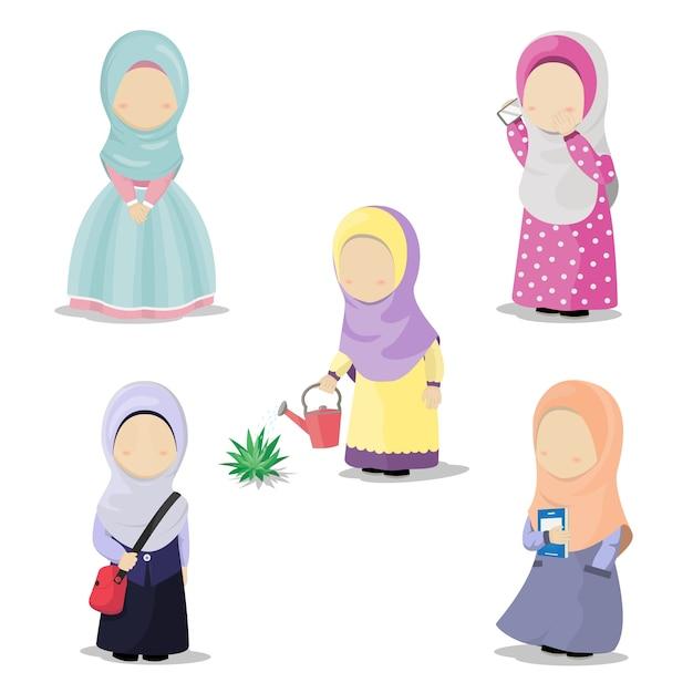異なる活動をしたヒジャブの女の子のイラスト Premiumベクター