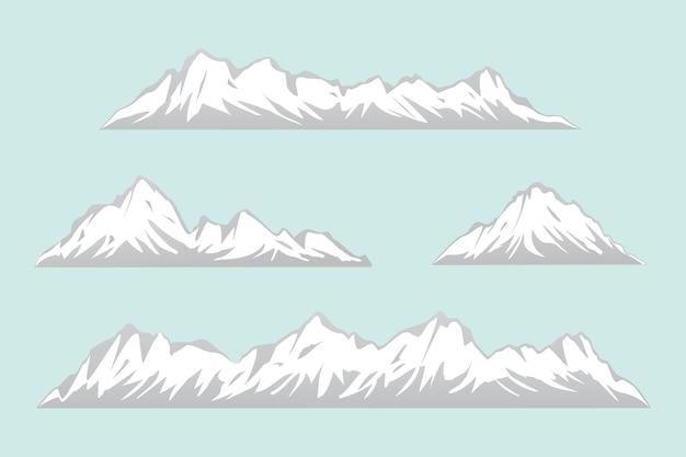 さまざまな形の孤立した山々のセット雪山のベクトルのイラストの範囲