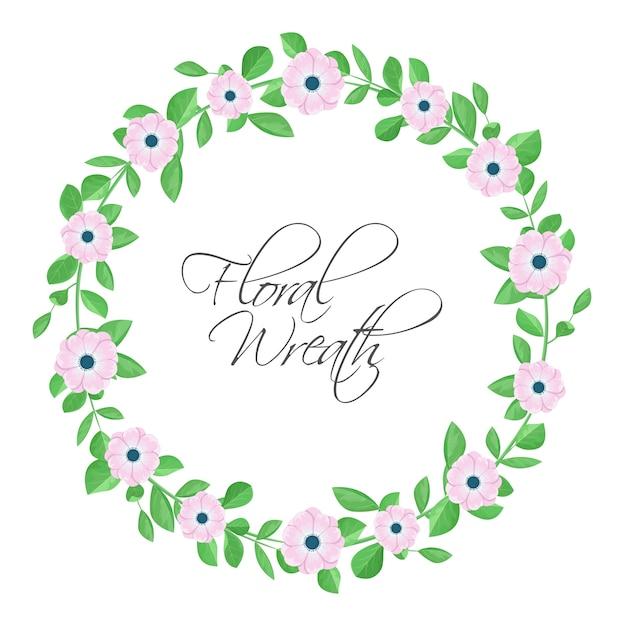 ピンクの花と花の花輪。 Premiumベクター