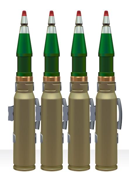 自動パワーガン用の大口径弾薬。 Premiumベクター