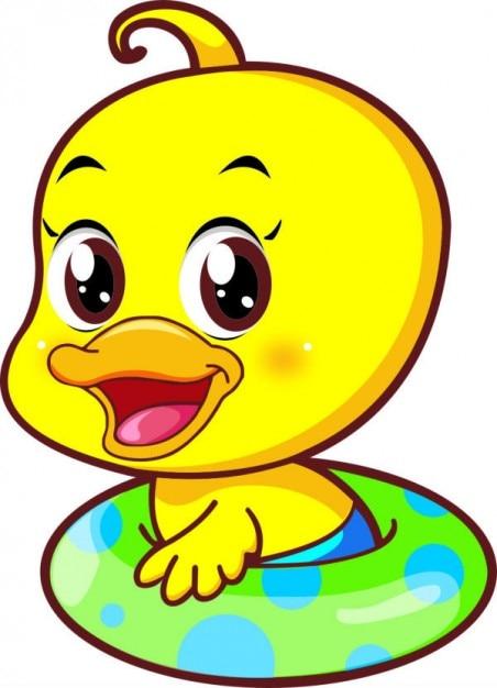 かわいいアヒルのイラスト小さな黄色の漫画 ベクター画像 無料