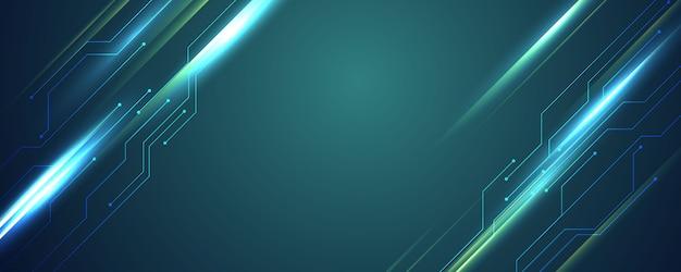 抽象的なブルーテクノロジーコミュニケーションコンセプトの背景 Premiumベクター