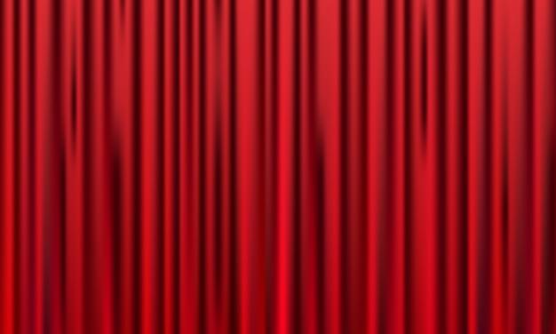 赤いカーテンの背景。グランドオープンイベントのデザイン。 Premiumベクター