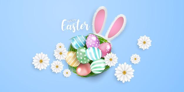 Счастливой пасхи фон. кролик блеск украшенные яйца Premium векторы
