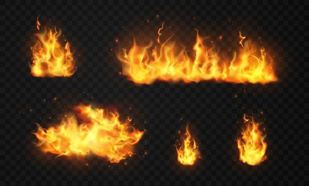 Горящие красные горячие искры реалистичного пламени огня Premium векторы