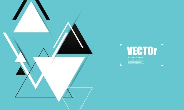 三角形と抽象的なブルーの幾何学的なベクトルの背景。 Premiumベクター