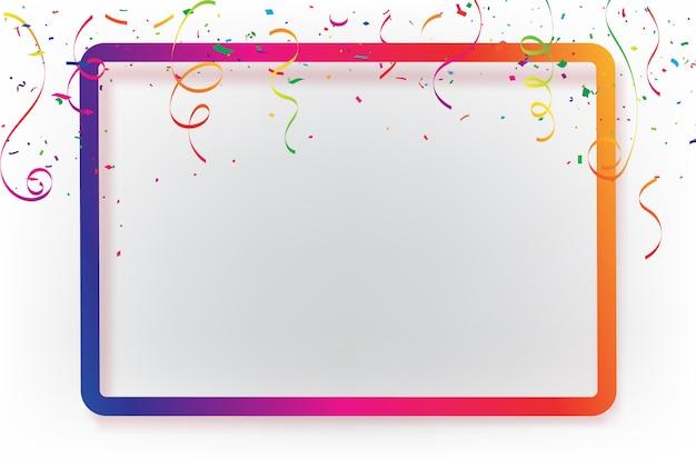 紙吹雪リボン付きお祝い背景テンプレート。 Premiumベクター