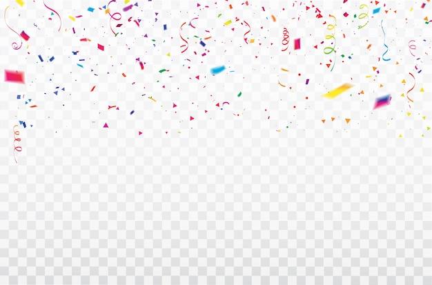お祝い紙吹雪リボンフレーム。 Premiumベクター