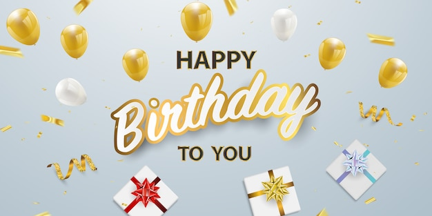 お誕生日おめでとうございますお祝いパーティーのバナー Premiumベクター