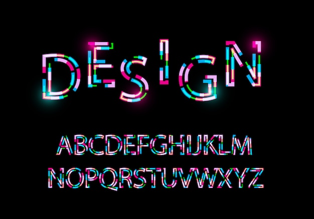 Современный абстрактный шрифт модный стиль искаженной гарнитуры Premium векторы