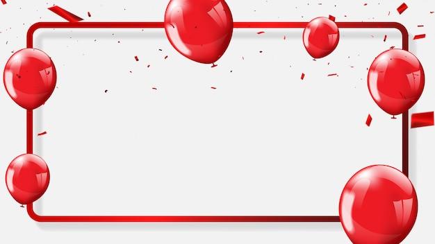 Красные шары, конфетти концепция дизайна фона Premium векторы