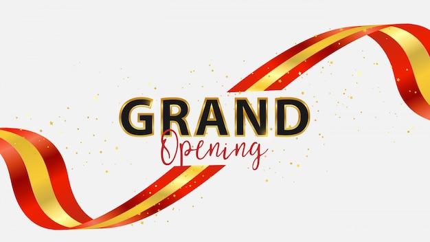 グランドオープンイベントデザイン。 Premiumベクター