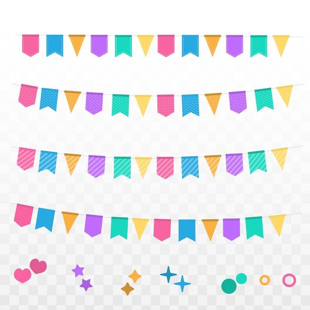 色の花輪を持つフラグお祝いバナーを設定します。 Premiumベクター