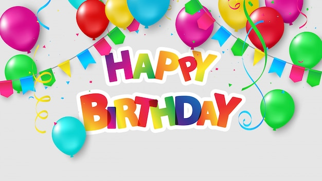 お誕生日おめでとう風船紙吹雪とカラフルなお祝い。 Premiumベクター