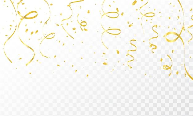 紙吹雪ゴールドリボンとお祝い背景テンプレート Premiumベクター