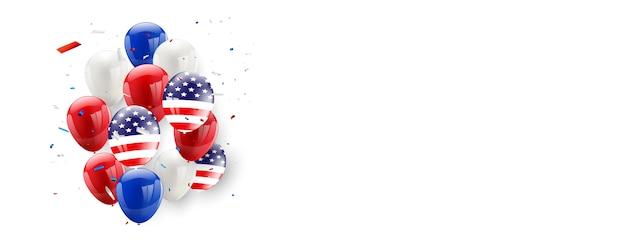 День труда дизайн карты американский флаг фон шары Premium векторы