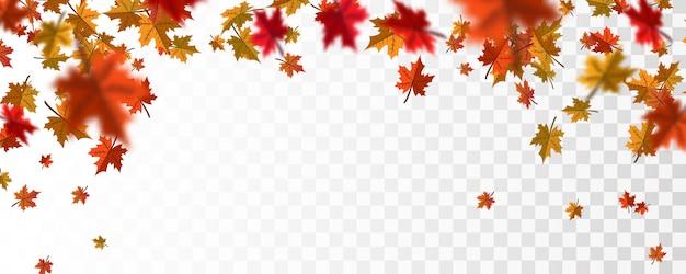 Осенние листья падают фон Premium векторы