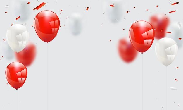 赤白い風船、紙吹雪コンセプトデザインテンプレート Premiumベクター