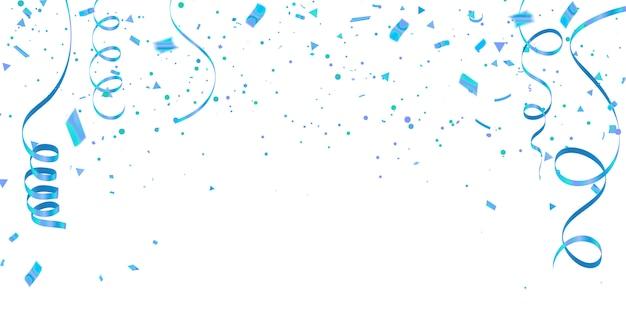 青い紙吹雪お祝いカーニバルリボンと白い背景。 Premiumベクター