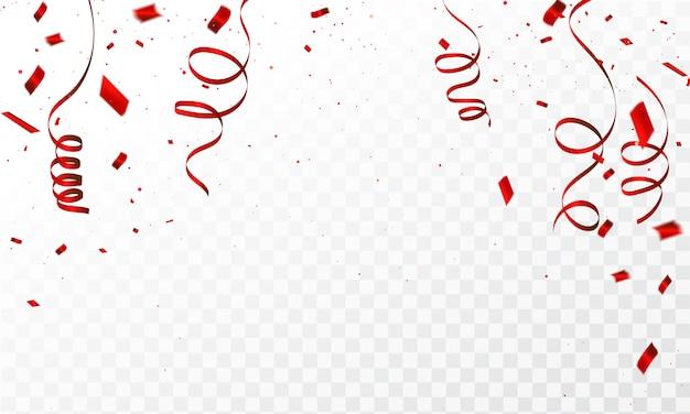 Фон с красным конфетти празднование карнавальных лент Premium векторы