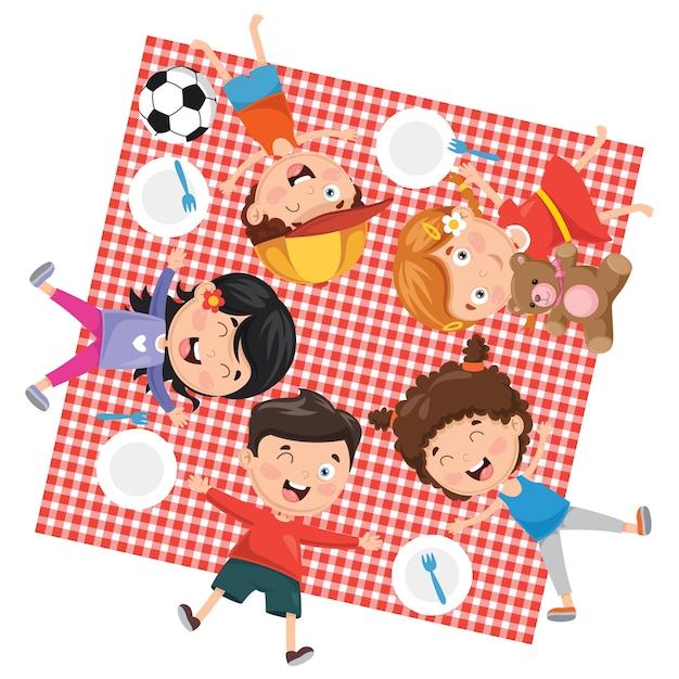 子供たちのピクニックのイラスト Premiumベクター
