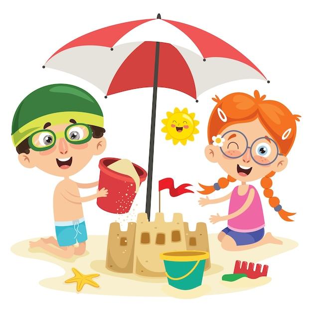 Векторная иллюстрация летних детей Premium векторы