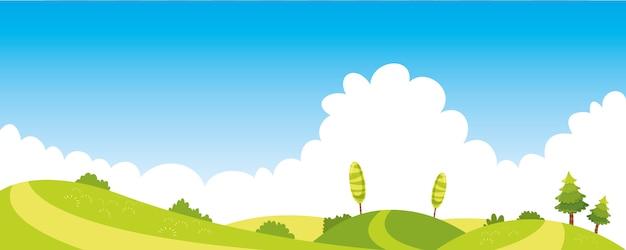 カラフルな自然のシーンのベクトルイラストレーション Premiumベクター