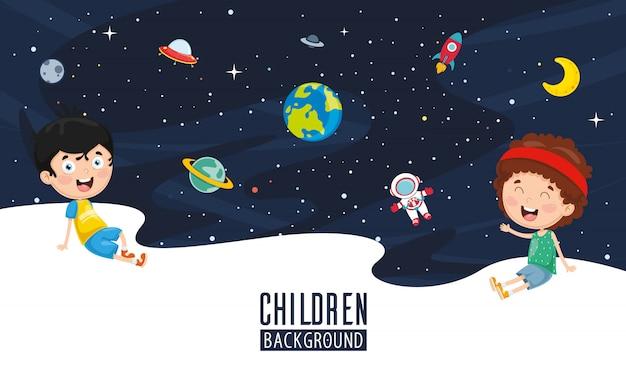 子供の背景のベクトル図 Premiumベクター