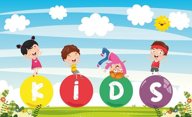 子供たちのカラフルな風景のベクトル図 Premiumベクター